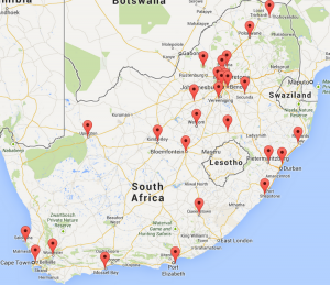 South African Online Casino map